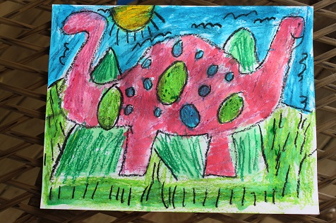 Dinosaur Oil Pastel Painting